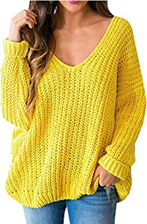 Huiyuzhi Women's Oversized Pullover Sweaters Off Shoulder V Neck Batwing Sleeve Loose Knit Chunky Sweatshirt Jumper Tops