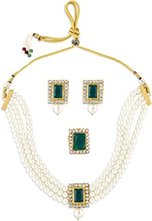 Zaveri Pearls Green Stones Multistrand Pearls Choker Necklace Earring & Ring Set For Women-ZPFK10845