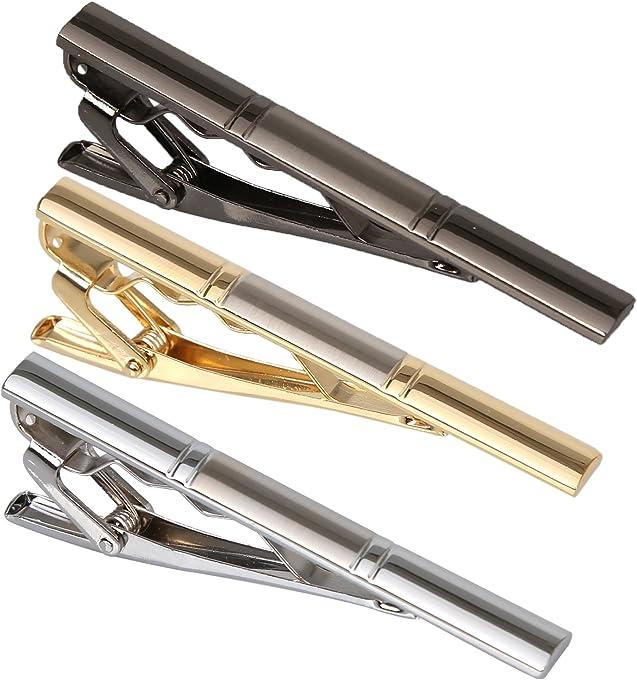 "3PCS Men。ッs 2.3"" Tie Bar Clip Set Gold Plated Gun Black Plated Stainless Exquisite Necktie Clip for Men"