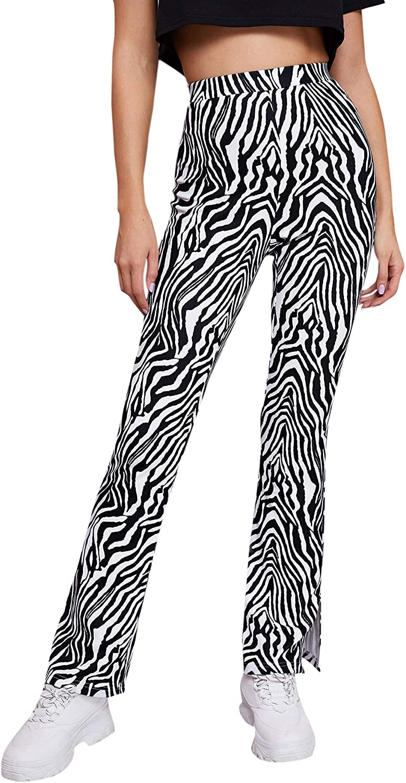 Milumia Women's Zebra Print Fashion Pants Elastic High Waist Slit Hem Casual Pants