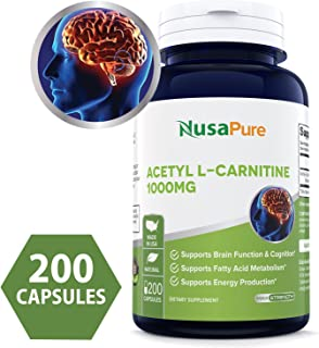 Pure Acetyl L-Carnitine 1000mg 200 Capsules (NON-GMO & Gluten Free) High Potency Acetyl L Carnitine HCL (ALCAR) Supplement Pills To Support Energy & Brain Function - 100% Money Back Guarantee!