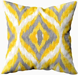 ROOLAYS Decorative Throw Square Pillow Case Cover 16X16Inch,Cotton Cushion Covers Yellow and Gray Wild Ikat Seamless Background Pattern Both Sides Printing Invisible Zipper Home Sofa Decor Pillowcase