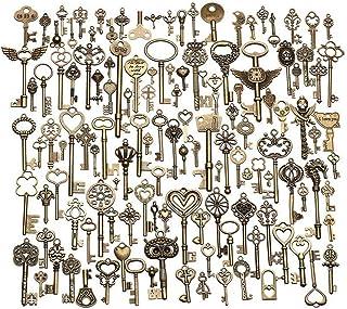 JKLcom 130Pcs Vintage Skeleton Keys Antique Bronze Vintage Skeleton Key Charm Set Mixed Vintage Skeleton Key Charms for Necklace Pendant DIY Handcrafts Jewelry Making Wedding Birthday Christmas Party