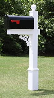 4EVER The Truman Vinyl/PVC Mailbox Post (Includes Mailbox) Complete Decorative Curbside Mailbox System with Classic Traditional Style (Black Mailbox)