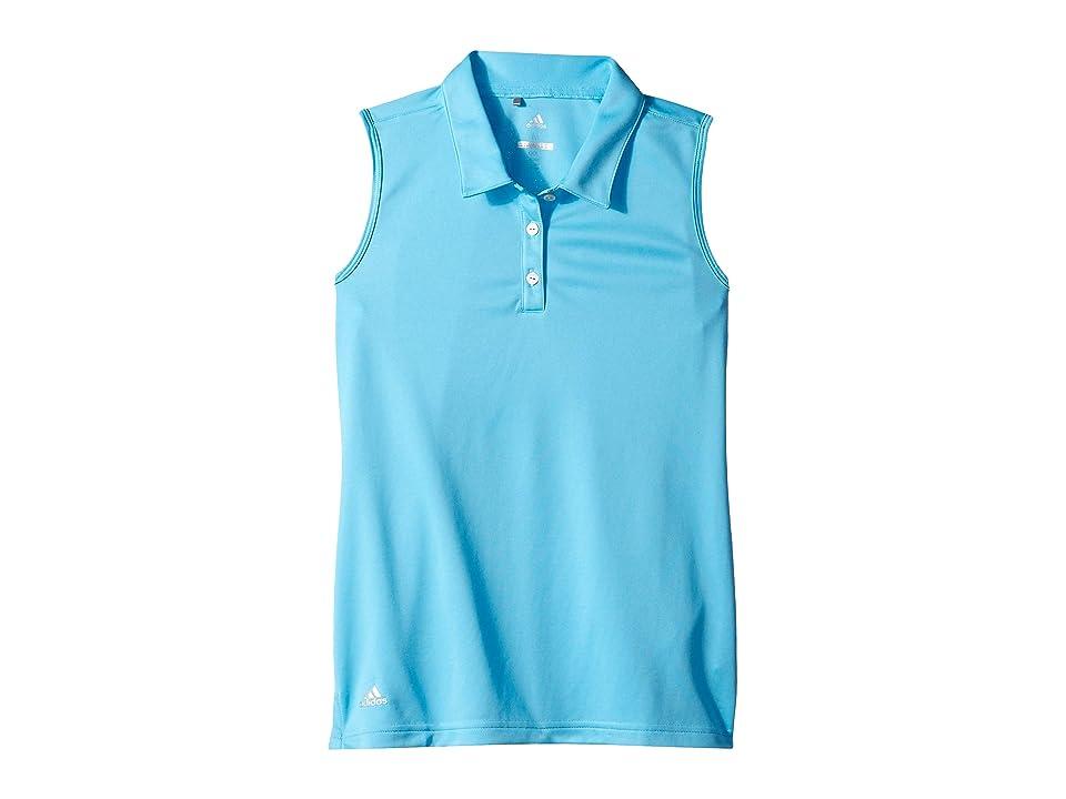 Image of adidas Golf Kids Tournament Sleeveless Polo (Big Kids) (Bright Cyan) Girl's Sleeveless