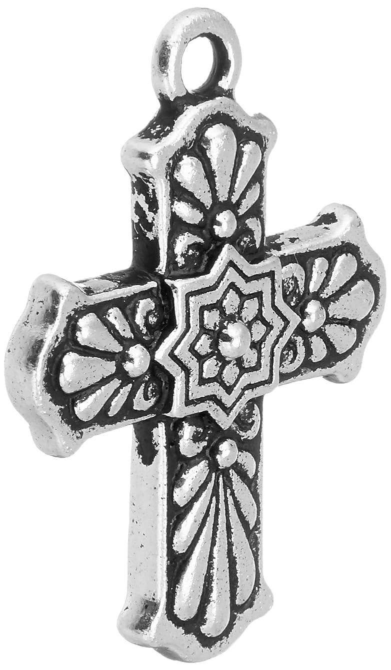 TierraCast Cross Charm, 29mm, Antique Silver pjkxbh249422
