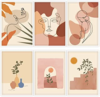 Whaline 6 Pack Abstract Line Art Poster Minimalist Wall Art Prints Waterproof Woman Face Drawing Modern Aesthetic Room Dec...