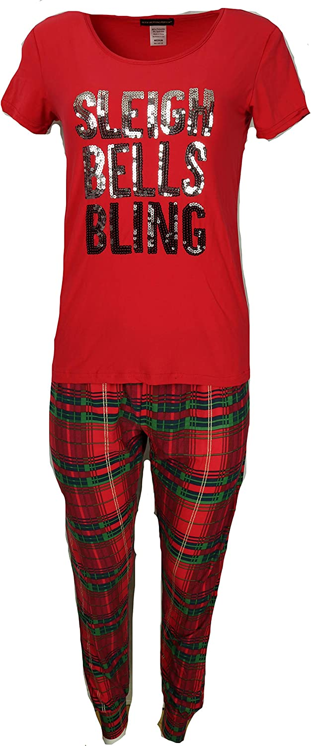 not a morning person Women's Christmas Pajama Set, Sequin Bling