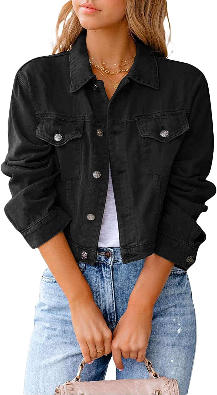 Women Denim Crop Jacket Casual Long Ca Cropped Neck Max 62% OFF Lapel Sleeve Now free shipping