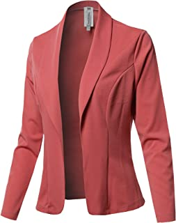 Women's Casual Work Solid 3/4 Shirring Sleeve Single Button Stretch Knit Blazer