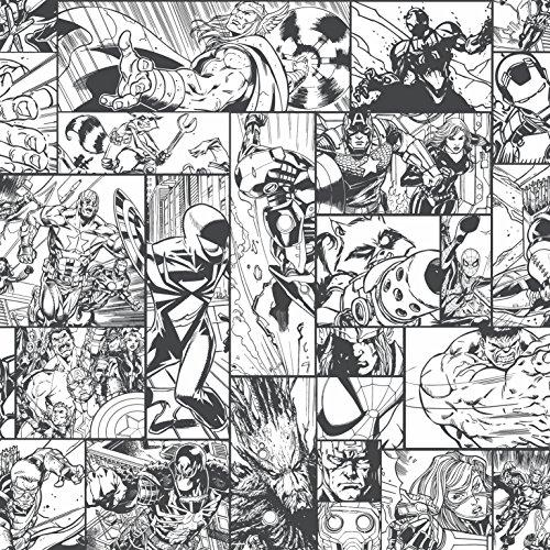 York Wallcoverings Disney Kids III Marvel Comic Book Removable Wallpaper, Blacks