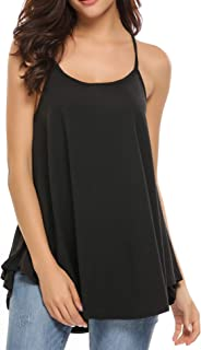 Zeagoo Women Strap Tank Top Casual Pleated Camisole Flowy Cotton Loose Cami Tops