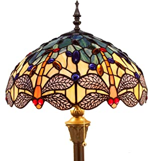 Tiffany Floor Lamp Standing Light W16 H64 Inch Green Yellow Dragonfly lampshade 2 Light Antique Base for Bedroom Living Room Reading Lighting Table Set S128 WERFACTORY