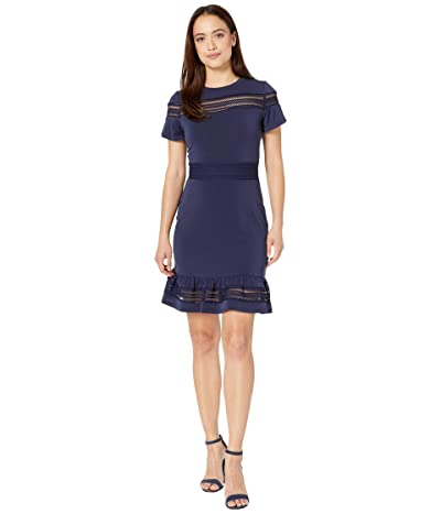 MICHAEL Michael Kors Petite Mesh Mix Short Sleeve Dress (True Navy) Women