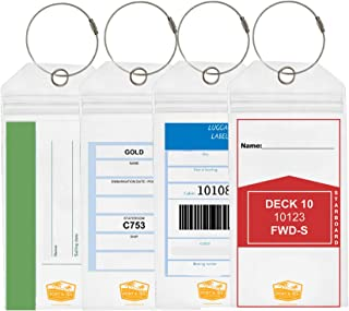 Cruise Luggage Tags/Etag holders with Zip Seal and Steel Locking Loops Vinyl PCV