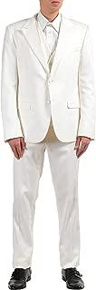 Dolce & Gabbana Men's Silk White Two Button Three Piece Suit US 42 IT 52