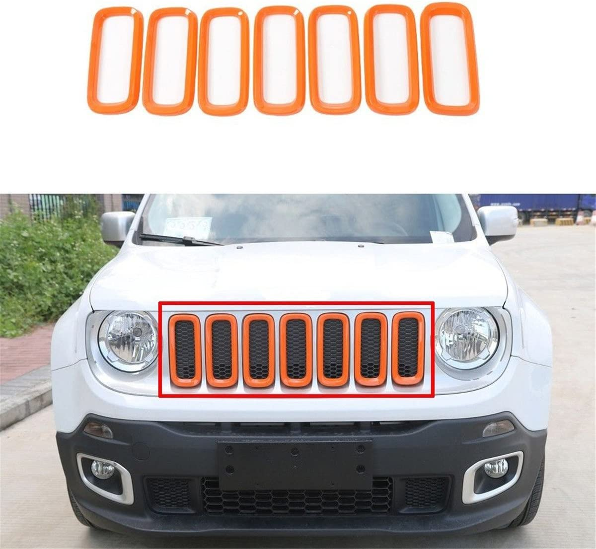 FMtoppeak Orange ABS Car Front Grille Trims Mesh Frame Insert ...