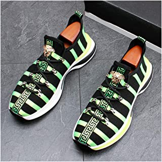 Men's Women's Air Running Shoes Trainers Mesh Breathable Sneakers Breathable Colorblock Low-Top Shoes for Multi Sport Athletic Jogging Fitness Walking Casual Shoes,Green,41EU