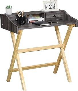 Itaar Bureau pliable peu encombrant, pieds en pin pour bureau à domicile, bureau pliable, table PC, pas de montage nécessa...