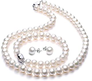 Freshwater Cultured Pearl Necklace Set Includes Stunning Bracelet and Stud Earri