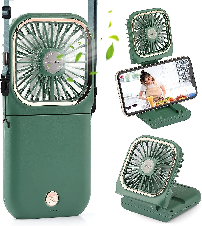 ZHUFON 5 IN 1 Small Fan(Desk Fan, Neck Fan, Handheld Fan, Phone Holder, Power Bank), Mini Rechargeable USB Fan for Travel, Outdoors, Hiking, Camping, Kitchen(Green)