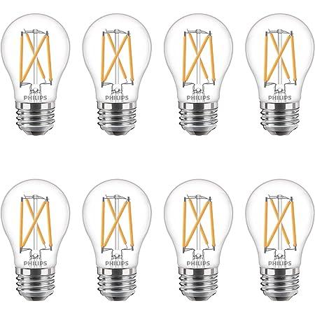 Philips LED Flicker-Free A15 Light Bulb, EyeComfort Technology, Dimmable Warm Glow Effect, 350 Lumen, 2700-2200K, 3.8W=40W, E26, Title 20 Certified, 8-Pack