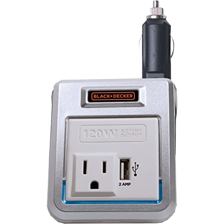 Black & Decker PI120P 120W Power Inverter: 12V DC to 120V AC Outlet with 2A USB Power Charger