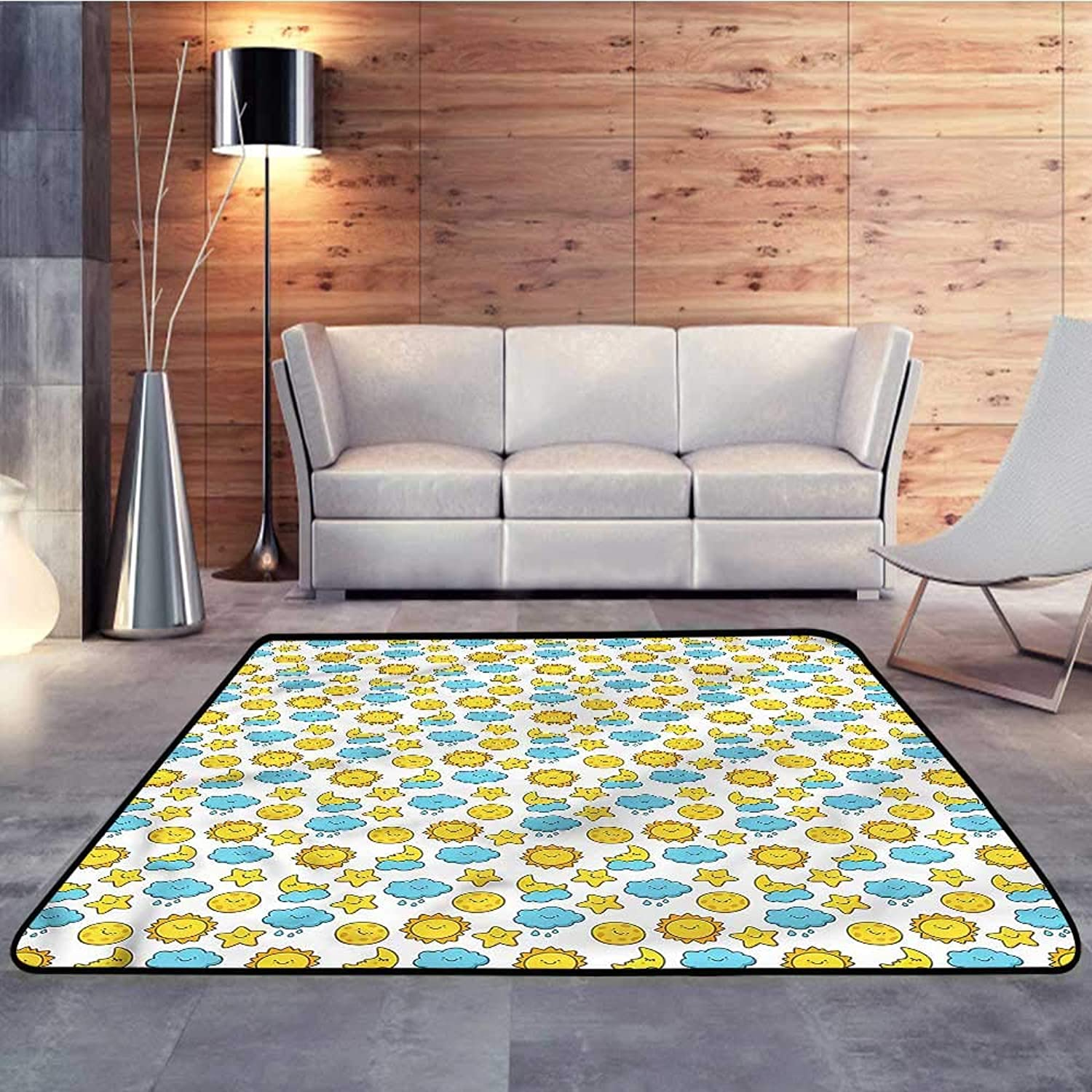 Kids rugsBaby,Day and Night Cycle FunW 47  x L59 Slip-Resistant Washable Entrance Doormat