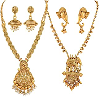 Jewellery Bollywood Ethnic Gold Plated Traditional Indian Necklace Combo Set with Earrings for Women