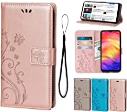 Wallet Case for Xiaomi Redmi Note 7/Note 7 pro,Premium PU Leather Flip Kickstand Cover Butterfly Flowers with Card Holders and Wrist Strap Magnetic Closure Stand Case For Xiaomi Redmi Note 7 Rose-Gold