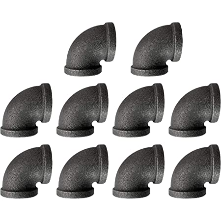 """1/2"""" Pipe Fitting Elbow DN15 Threaded Cast Black Malleable Iron for Steampunk Vintage Shelf Bracket DIY Plumbing Pipe Decor Furniture (10, 1/2"""")"""