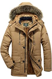 C/&H Men Casual Cotton-Padded Quilted Hooded Overcoat Puffer Parkas Coats