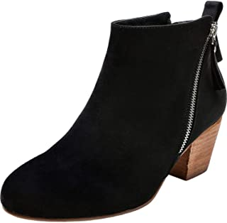 cb77c263df34e Luoika Women's Wide Width Ankle Booties - Classic Side Zipper Low Stacked  Heel Round Toe Suede