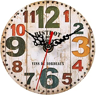 Raguso Reloj de pared antiguo creativo relojes redondos de madera estilo vintage reloj de pared retro reloj para salón reg...