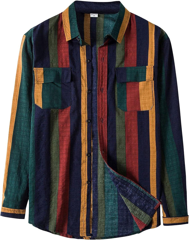HGOOGY Men's T-Shirt Autumn Long Sleeve Casual 2 Pockets Stripe Splice Turn Down Top Lightweight Loose Beach Blouse