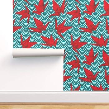 Spoonflower Peel And Stick Removable Wallpaper Cranes Origami Bird Sea Ocean Aqua Blue Japan Japanese Print Self Adhesive Wallpaper 12in X 24in Test Swatch Amazon Com