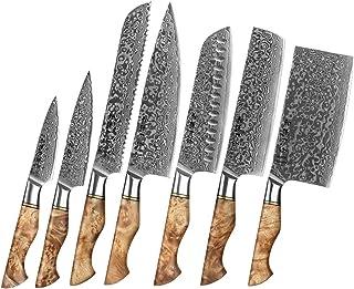 7PCS Couteau de cuisine Ensemble professionnel Damas acier chef pain Peeling Sande de Sharp Nakiri Couteau de chef Couteau...
