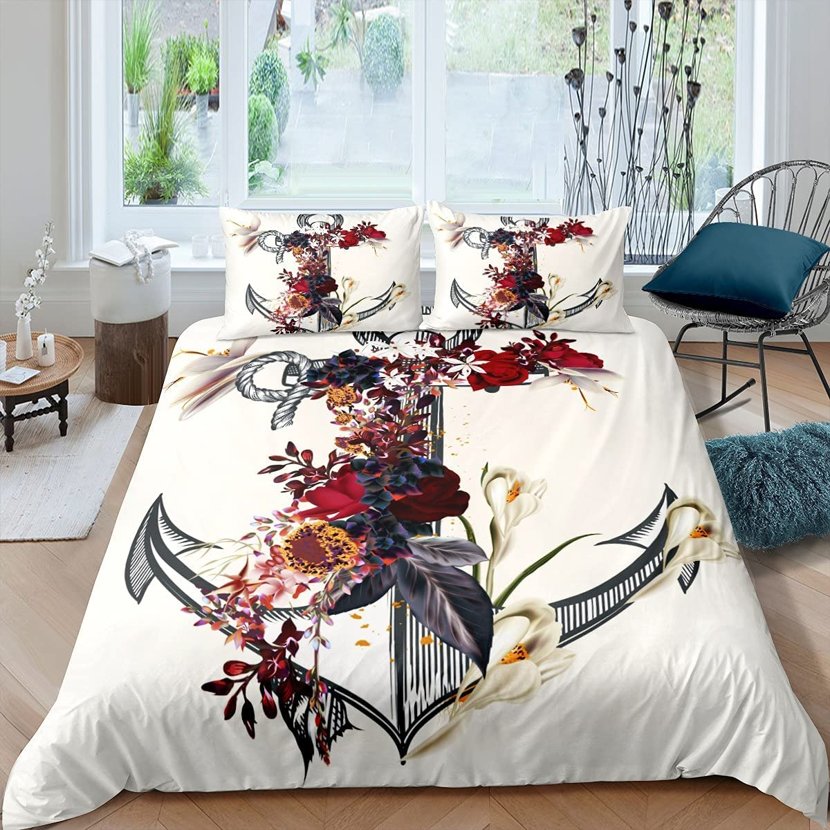 Castle Fairy Luxury Anchor Duvet Cover Twin Max 66% OFF Red Flower Bedspr Rose Size