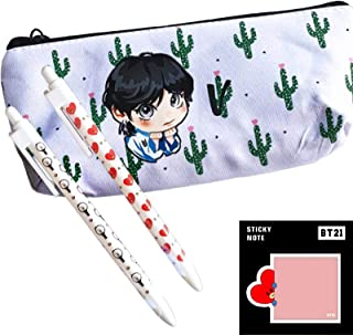 eKoi Cute Kawaii Kpop Bangtan Boys BTS Cartoon Canvas Cactus Zipper Pencil Case Pouch Bag Holder w Ballpoint Pen Post It Note Pad Set for Army Stationery Back School Supplies Pack (V)