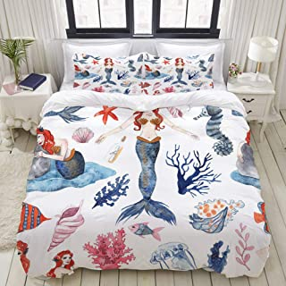 """Mokale Bedding Duvet Cover 3 Piece Set - Watercolor Mermaid, Shells, Starfish, Fish and Seaweed - Decorative Hotel Dorm Comforter Cover with 2 Pollow Shams - Full 80""""x90"""""""