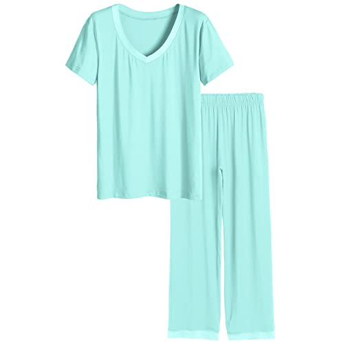 86676ebcc7 Latuza Women s V-Neck Sleepwear Short Sleeves Top with Pants Pajama Set