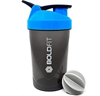 Boldfit Compact Gym Shaker Bottle 500Ml, Shaker Bottles For Protein Shake , Bpa Free Material, Plastic, Blue And Grey