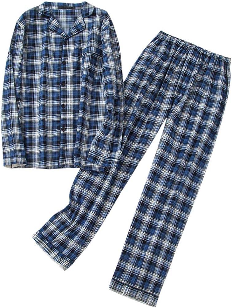 Mens Classic Plaid Button Down Pajamas Set Long Sleeve Sleepwear Loungewear