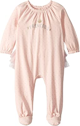 Princess Ruffle Long Sleeve Footed Sleeper (Infant)