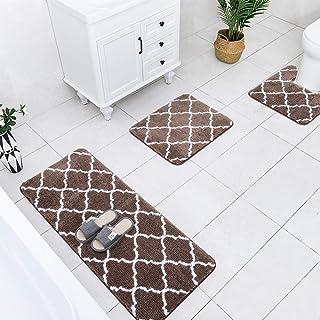 Carvapet 3 Pcs Bathroom Rug Set Extra Soft Shaggy Microfiber Bath Mat Water Absorbent Plush Fuzzy Bath Runner U-Shaped Con...