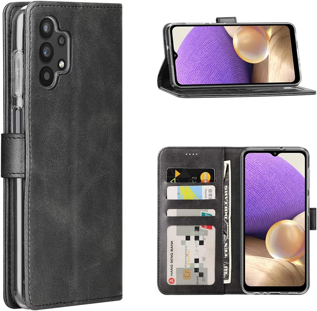 Wallet Case for Samsung Galaxy A32 5G Protective PU Leather Flip Case Wallet with Card Slot Stand Magnetic Closure Redluckstar Women Flip Cover for Men Business Elegant Case for Galaxy A32 5G (Black)
