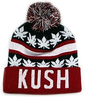 Sk1160 Kush Leaves Pom Pom Beanie Hats (13Colors)
