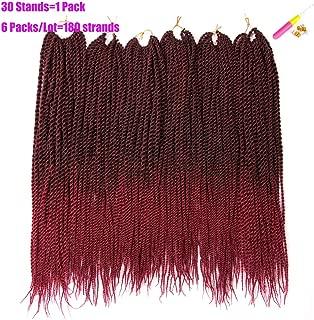 Spring Beauty Hair Senegalese Twist Crochet Hair 22 inch 6 Packs a Lot 30 Strands/Pack Crochet Hair Braids 1B/Burgundy High Temperature Fiber Braiding Hair Extentions