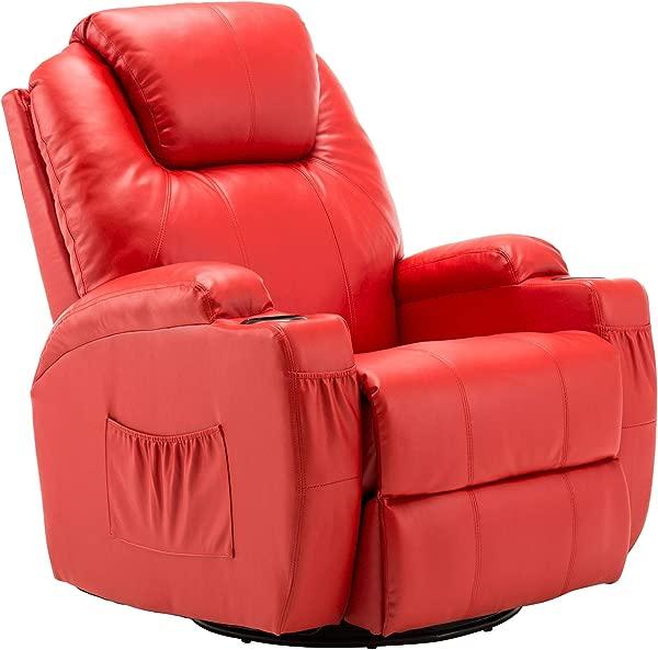 Modern Massage Recliner Chair Vibrating Sofa Heated PU Leather Ergonomic Lounge 360 Degree Swivel Rocker 8031 Red