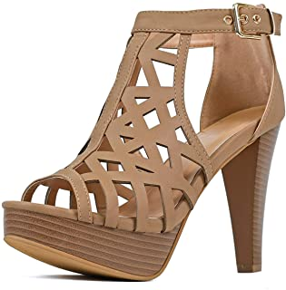Guilty Shoes - Womens Stiletto Platform High Heel Sandal - Peep Toe Cutout Comfortable Heeled Sexy Shoe Pumps